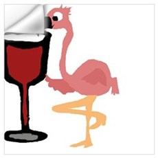 Pink Flamingo Drinking Wine Wall Decal