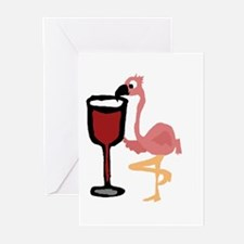Pink Flamingo Drinking Wine Greeting Cards