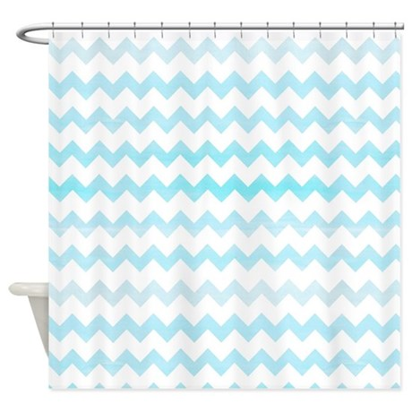 Blue Ombre Watercolor Chevron Zigza Shower Curtain By Cutetoboottoo