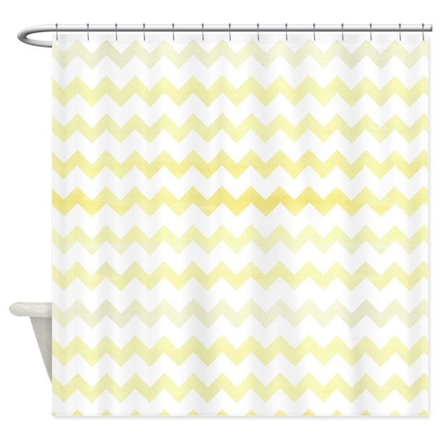 Yellow Watercolor Chevron Zigzag Pa Shower Curtain By Cutetoboottoo