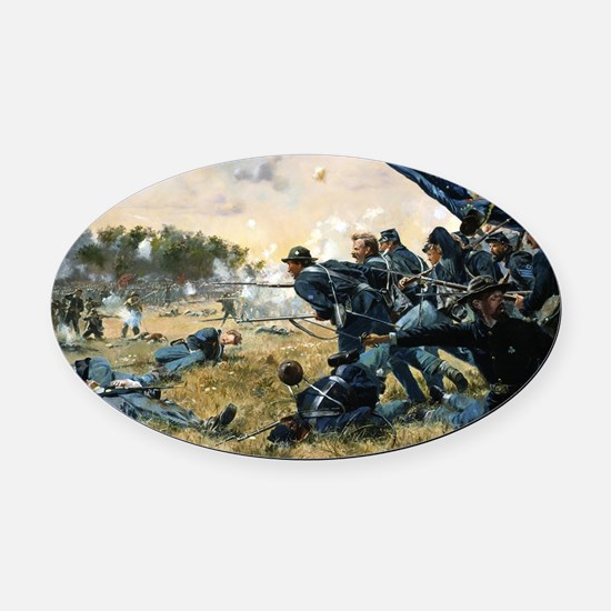 War Between Brothers Oval Car Magnet