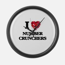 I Love Number Crunchers Large Wall Clock
