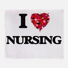 I Love Nursing Throw Blanket