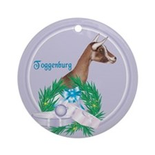 Toggenburg Goat Tropical Holiday Ornament (Round)