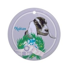 Nubian Goat Tropical Holiday Ornament (Round)
