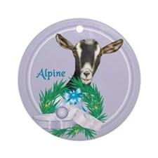 Alpine Goat Tropical Holiday Ornament (Round)