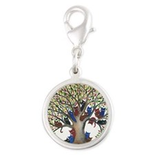 Autumn Stray Cats Silver Round Charm