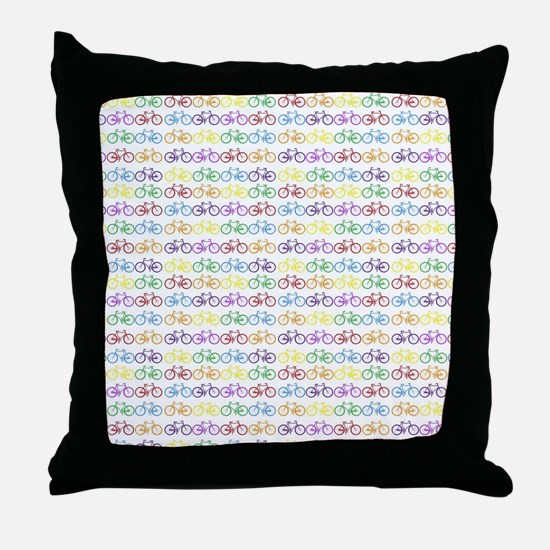 Colorful Bicycles Throw Pillow