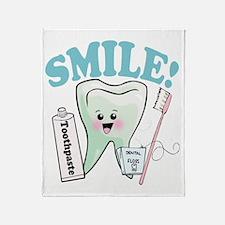 Smile Dentist Dental Hygiene Throw Blanket