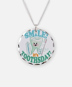 Smile Dentist Dental Hygiene Necklace Circle Charm