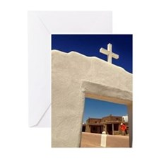 Taos Pueblo Cross Greeting Cards