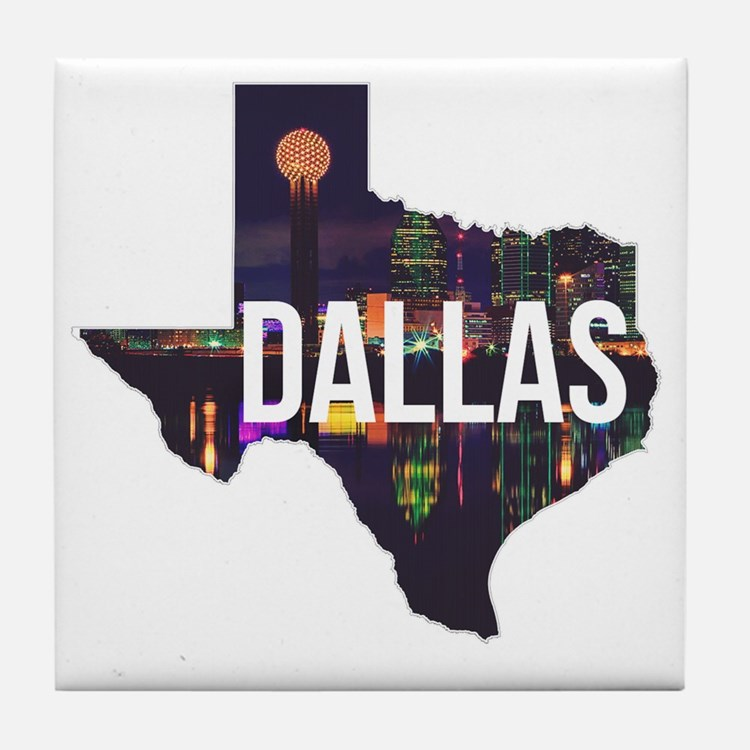 Dallas Texas Silhouette Tile Coaster