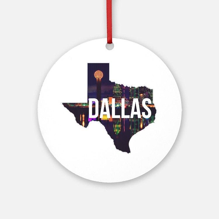 Dallas Texas Silhouette Round Ornament