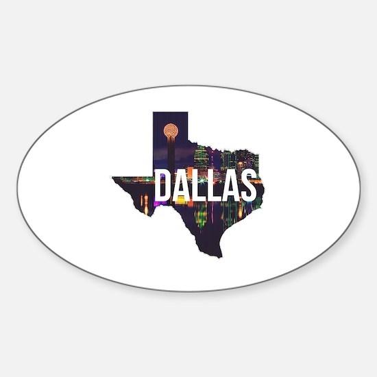 Dallas Texas Silhouette Sticker (Oval)