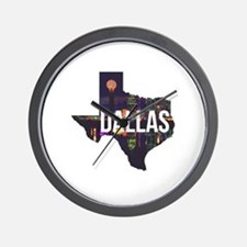 Dallas Texas Silhouette Wall Clock