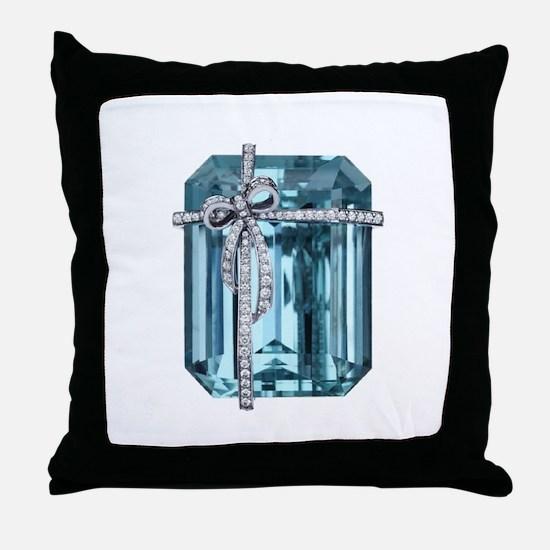 Blue-Brooch Throw Pillow