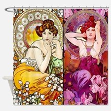 Mucha Gems Topaz, Ruby Ladies Shower Curtain
