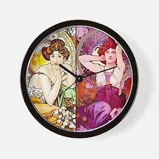 Mucha Gems Topaz, Ruby Ladies Wall Clock