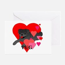 Pug Hearts Greeting Card