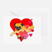 Pug Hearts Greeting Card