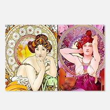 Mucha Gems Topaz, Ruby La Postcards (Package of 8)