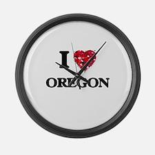 I Love Oregon Large Wall Clock
