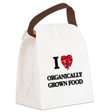 I Love Organically Grown Food Canvas Lunch Bag