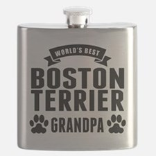 Worlds Best Boston Terrier Grandpa Flask