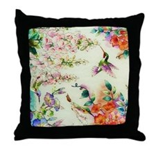 HUMMINGBIRD_STAINED_GLASS Throw Pillow