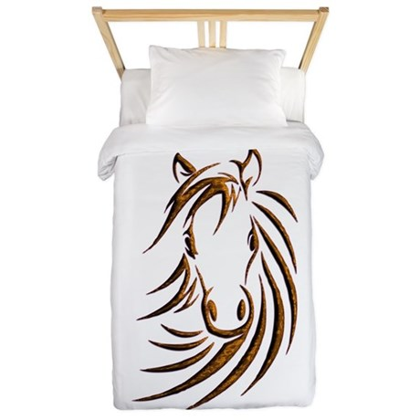 Brown Horse Head Twin Duvet