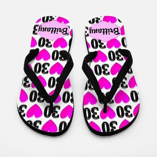 30th Pink Love Flip Flops
