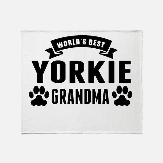 Worlds Best Yorkie Grandma Throw Blanket