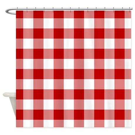 red gingham pattern shower curtain by admin cp125434866
