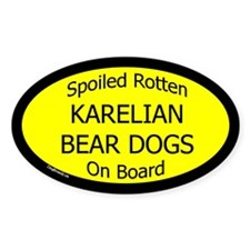 Spoiled Karelian Bear Dogs On Board Oval Decal