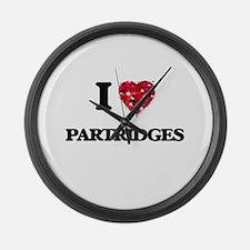 I Love Partridges Large Wall Clock