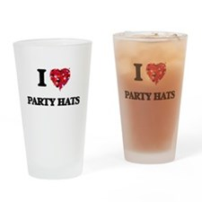 I Love Party Hats Drinking Glass
