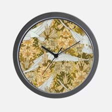 Vintage Art Deco Doves and Flowers Wall Clock