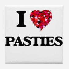 I Love Pasties Tile Coaster