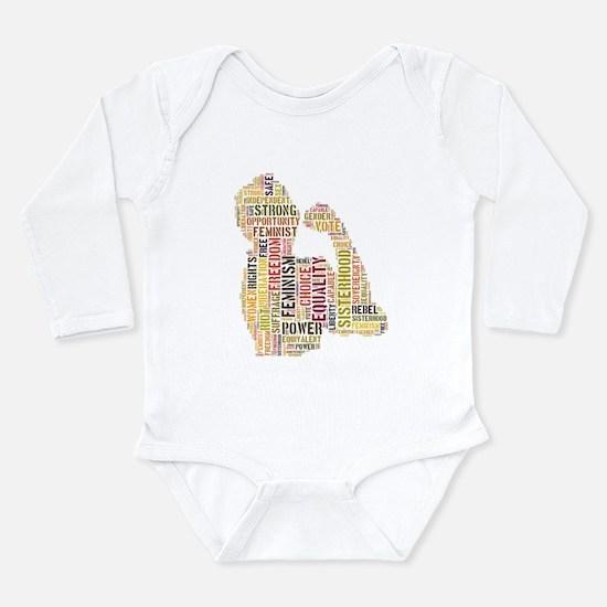 Cute Feminist Long Sleeve Infant Bodysuit