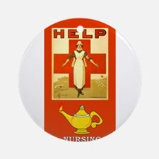Red Cross Nurse and Lamp Ornament (Round)