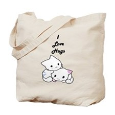 I Love Hugs Cute White Kittens Tote Bag