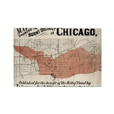 Chicago Map from 1871 after fire  Rectangle Magnet