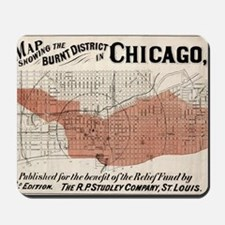 Chicago Map from 1871 after fire Restore Mousepad