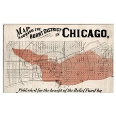 Chicago Map from 1871 after fire Restored Canvas Art