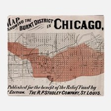 Chicago Map from 1871 after fire Res Throw Blanket