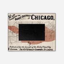 Chicago Map from 1871 after fire Res Picture Frame