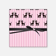 "Poodles And Pink Hearts Square Sticker 3"" x 3"""