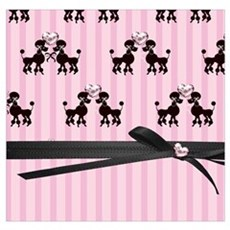 Poodles And Pink Hearts Poster