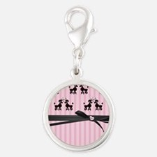 Poodles And Pink Hearts Silver Round Charm