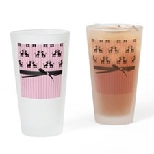 Poodles And Pink Hearts Drinking Glass